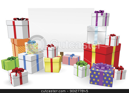Presents and Sign Concept stock vector clipart, Sign and gifts background with copyspace for your message by Christos Georghiou