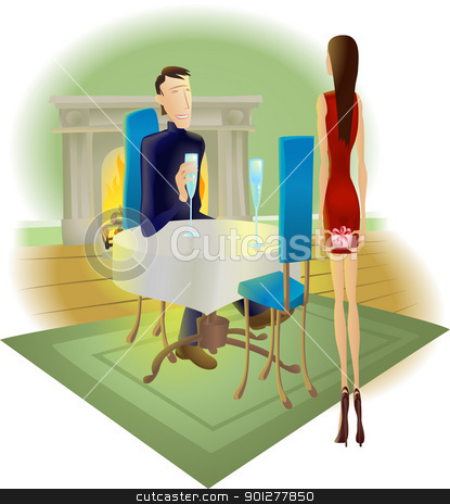 surprise romantic gift stock vector clipart, A beautiful woman giving a surprise romantic gift to her handsome partner by Christos Georghiou