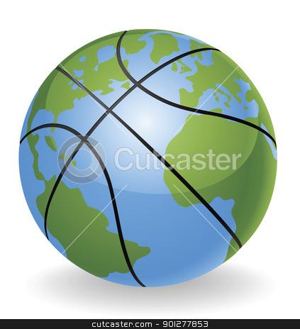 World globe basketball ball concept stock vector clipart, World globe basketball ball ball concept illustration by Christos Georghiou