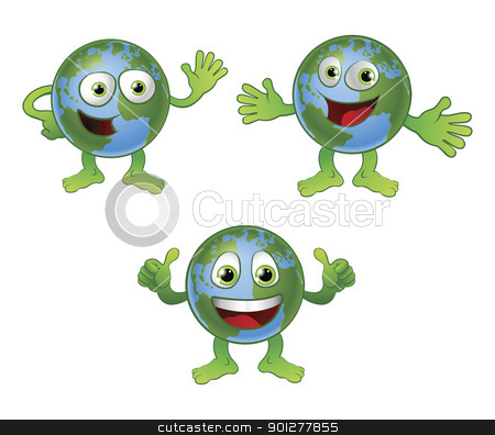 Globe world cartoon character stock vector clipart, A cute happy fun globe world cartoon character in various poses. by Christos Georghiou