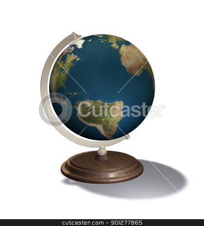 3d render globe  stock photo, 3d render of a world globe illustration  by Christos Georghiou