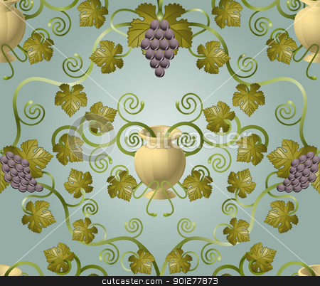 grapetile12 stock vector clipart, Beautiful vine leaf and urn seamless tile. Designed to look at its best when tiled.  by Christos Georghiou
