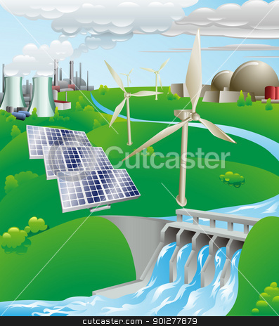 Electricity power generation illustration stock vector clipart, Conceptual illustration showing many different types of power generation, including nuclear, fossil fuel, wind power, photovoltaic cells, and hydro electric water power by Christos Georghiou