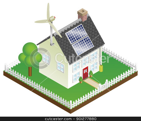 Sustainable renewable energy house stock vector clipart, An illustration of a sustainable renewable energy house with solar panels and wind turbine by Christos Georghiou