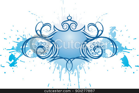 Grunge Shield design element stock vector clipart, A Winged shield graffiti grunge background.  by Christos Georghiou
