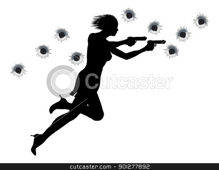 Action Hero Shoot Out Woman  stock vector clipart, A  femme fatale sexy woman with two guns in Hollywood style action sequence. by Christos Georghiou