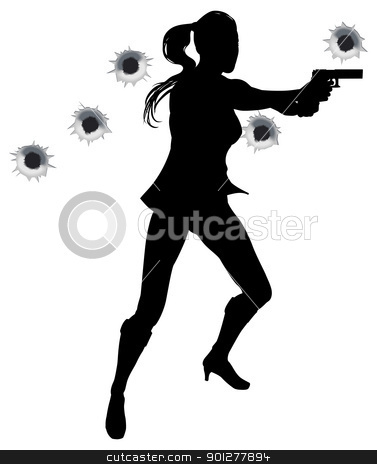 Gunfight action woman stock vector clipart, Female heroin leaping through the air in film style gunfight action sequence. by Christos Georghiou