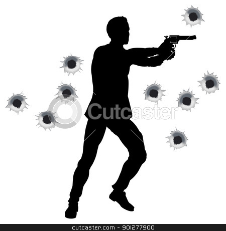 Action hero in gun fight silhouette stock vector clipart, Action hero standing and shooting in film styleshoot out action sequence. With bullet holes. by Christos Georghiou