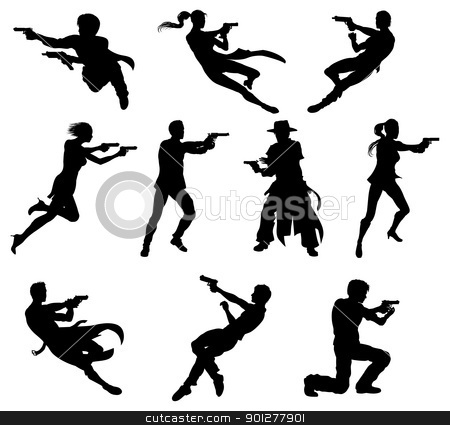 Shoot out silhouettes stock vector clipart, Silhouettes of movie action sequence shootout men and women in dynamic poses by Christos Georghiou