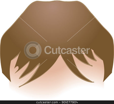 hair Illustration stock vector clipart, An illustration of human head of hair, no meshes used  by Christos Georghiou