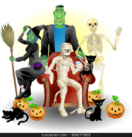 halloween group illustration stock vector clipart, A vector illustration of some monster friends enjoying Halloween  by Christos Georghiou