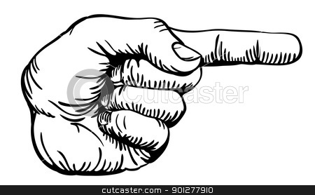 pointing the finger stock vector clipart, a black and white illustration of a human left hand with the finger pointing or gesturing to the right of the image. by Christos Georghiou