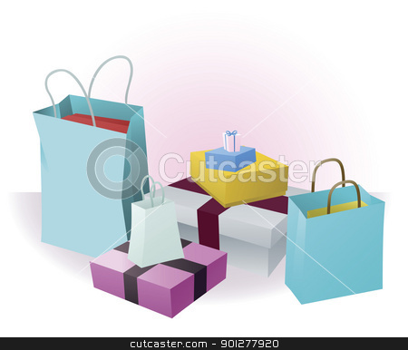 Lots of shopping or gifts stock vector clipart, Stacks of luxury shopping purchases or gifts by Christos Georghiou