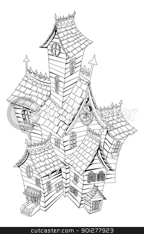 Spooky haunted house illustration stock vector clipart, Black and white illustration of a haunted ghost house by Christos Georghiou