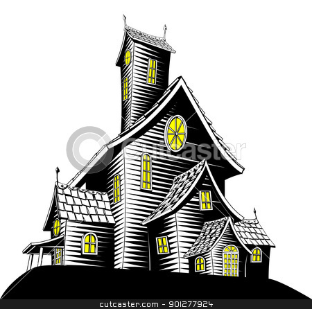 Scary haunted house illustration stock vector clipart, Halloween illustration of a haunted ghost house by Christos Georghiou