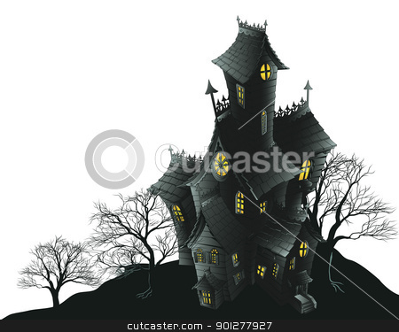 Creepy haunted ghost house scene illustration stock vector clipart, Halloween scene. Illustration of a spooky haunted ghost house by Christos Georghiou