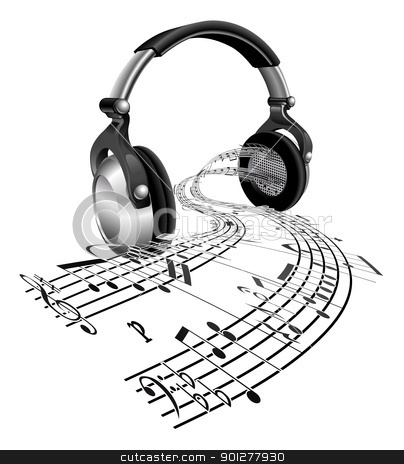Headphones sheet music notes concept stock vector clipart, Music streaming from a pair of headphones in the form of sheet music notes by Christos Georghiou