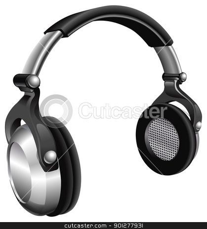 Large DJ Headphones stock vector clipart, A vector illustration of a large pair of music headphones. by Christos Georghiou