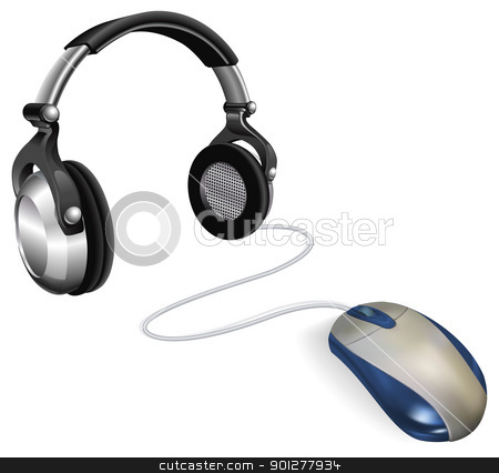Online or music app concept stock vector clipart, Computer mouse connected to big DJ headphones. Concept for online music. by Christos Georghiou