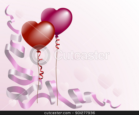 Heart shaped love balloon background stock vector clipart, A valentines card style background with heart shaped balloons and ribbon   by Christos Georghiou