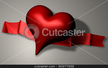 ribbon heart stock photo, A 3D render of a heart and ribbon  by Christos Georghiou