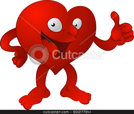 heart man illustration stock vector clipart, An illustration of a heart character giving the thumbs up  by Christos Georghiou
