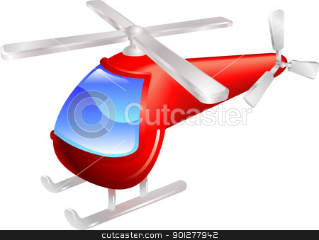 Helicopter vector illustration stock vector clipart, Cartoon style red helicopter vector illustration by Christos Georghiou