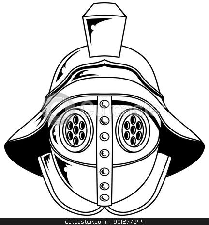 Gladiator helmet illustration stock vector clipart, An illustration of a gladiator helmet by Christos Georghiou