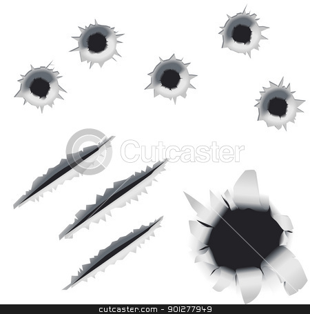 bullet holes and slashes stock vector clipart, A collection of bullet holes and slashes.  by Christos Georghiou