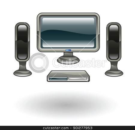 homecinema Illustration stock vector clipart, Illustration of a Home Cinema by Christos Georghiou