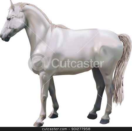 horses Illustration stock vector clipart, A photorealistic illustration of a horse. Created with meshes.  by Christos Georghiou