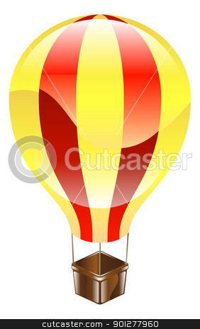 Shiny hot air balloon icon illustration stock vector clipart, A yellow and red glossy hot air balloon icon illustration  by Christos Georghiou