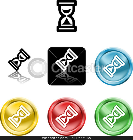hour glass icon symbol stock vector clipart, Several versions of an icon symbol of a stylised hour glass  by Christos Georghiou