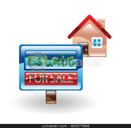 house fo sale stock vector clipart, Illustration of a house for sale by Christos Georghiou