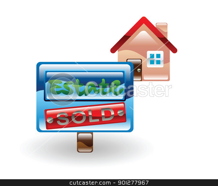 house sold stock vector clipart, Illustration of a sold house by Christos Georghiou