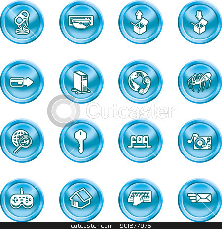 Website and Internet Icons stock vector clipart, A set of shiny Computing and Website Icons  by Christos Georghiou