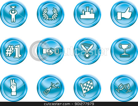 success and vctory icons stock vector clipart, Victory and Success Icon Set Series Design Elements A conceptual icon set relating to victory and success.  by Christos Georghiou