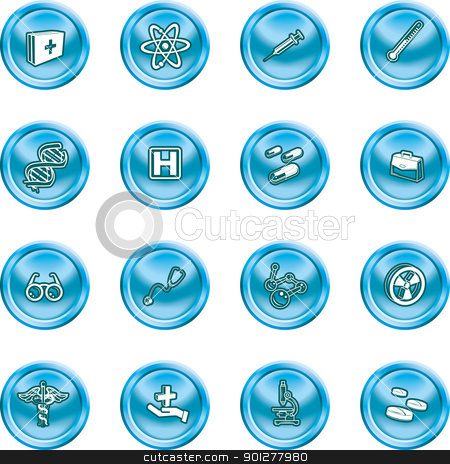 medicine and science icons stock vector clipart, A set of icons related to medicine and science  by Christos Georghiou