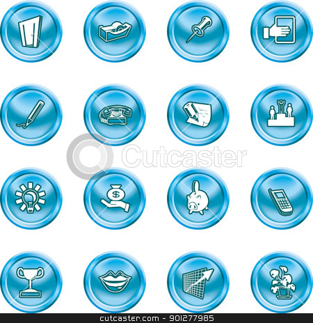 office and business icons  stock vector clipart, A series set of office and business icons  by Christos Georghiou