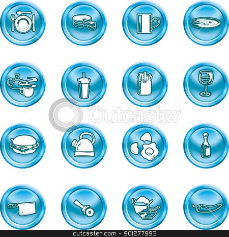 food and drink icon stock vector clipart, A set of food and drink icons.  by Christos Georghiou