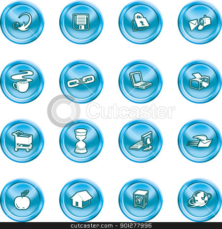 internet and Computing icons stock vector clipart, Series of icons relating to the internet and Computing.  by Christos Georghiou