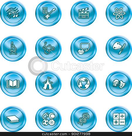 subject category icon set stock vector clipart, A subject category icon set eg. science, maths, language, literature, history, geography, musical, physical education etc  by Christos Georghiou