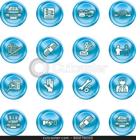 car dealer icons stock vector clipart, Icons or design elements related to purchasing a car. by Christos Georghiou