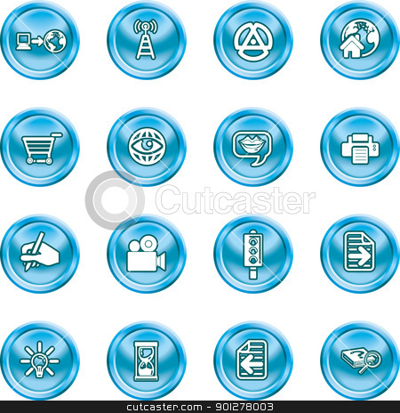 internet and computing media icons stock vector clipart, A set of internet and computing media icons  by Christos Georghiou