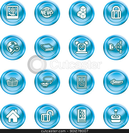 internet and computing media icons stock vector clipart, A set of internet and computing media icon by Christos Georghiou