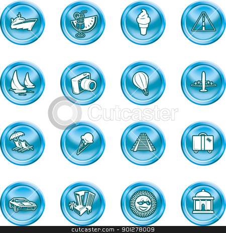 vacations, travel and tourism icons stock vector clipart, A series of icons relating to vacations, travel and tourism.  by Christos Georghiou