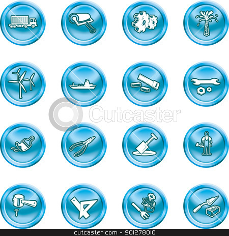 tools and industry icons stock vector clipart, A series of icons relating to tools and industry. by Christos Georghiou