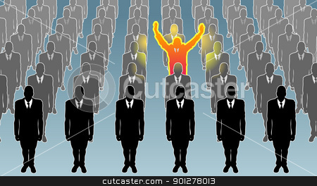 individual  business concept illustration stock vector clipart, An exceptional person standing out from the crowd!  by Christos Georghiou
