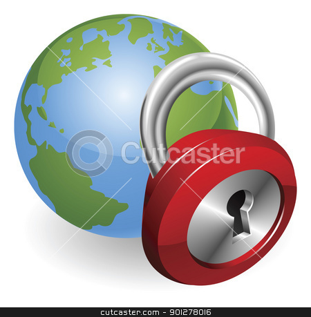 Lock and world globe stock vector clipart, Lock and globe security concept illustration by Christos Georghiou