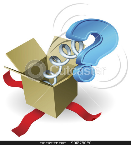 Jack in the box question mark concept stock vector clipart, A question mark springing out of a box conceptual illustration. by Christos Georghiou